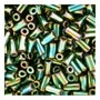 size 1 Bugle Bead - Green Metallic Iris