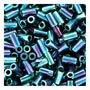 size 1 Bugle Bead - Bluegreen Metallic Iris