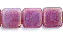 2-Hole Tile - 6mm - Pink Alexandrite Opal Luster