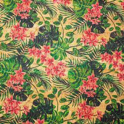 Cork Fabric - Tropical Flowers
