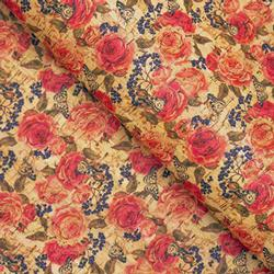 Cork Fabric - Red Roses