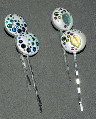 Bezel Hair Pins - Round - 2 pieces