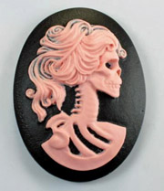 40/30mm Lolita Cameo - Pink on Black