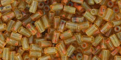 size 1 Bugle Bead - Antique Amber Hybrid Matte Picasso