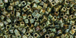 Toho 1.5mm Cube - Green Gold Hybrid Opaque Gold Luster