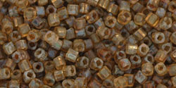 Toho 1.5mm Cube - Antique Amber Hybrid Matte Picasso