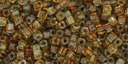 Toho 1.5mm Cube - Antique Amber Hybrid Picasso